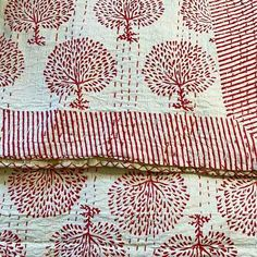 Coffee Ajrak Kantha Quilt is made traditionally with block printing, The design has been done by traditional artisans on organic cotton. Yummy Linen Kantha Quilt, Quilts, Tree Quilt, Red Queen, Queen Size Bedding, Hand Stitching, Hand Stamped, Organic Cotton, Artisan