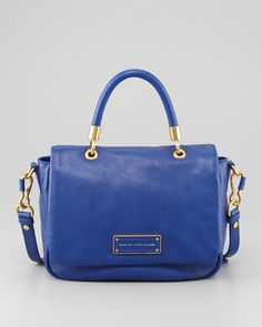Too+Hot+To+Handle+Small+Flap-Top+Bag,+Blue+by+MARC+by+Marc+Jacobs+at+Neiman+Marcus.