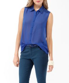 Sheer Sequined Collar Shirt | FOREVER21 - 2019571998