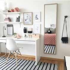 The ideal study room design is one that accommodates studying and looks good. Want to make such a room for yourself? Check out these study room ideas Study Room Decor, Cute Room Decor, Room Ideas Bedroom, Diy Bedroom, Bedroom Girls, Girl Rooms, Bedroom Inspo, Master Bedroom, Small Room Decor