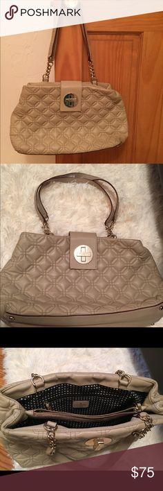 Kate Spade Natural Shoulder Bag Great neutral bag! Gold tone hardware and clasp. Zippered center interior pocket. Cute black and white polka dot interior. kate spade Bags Shoulder Bags