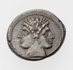 Didrachm with head of Janus. Roman , about 225–212 B.C.