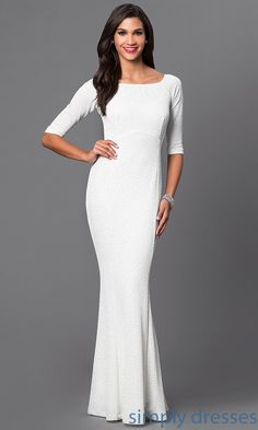 Shop long ivory white sparkling formal gowns at SimplyDresses. Floor length formal party dresses with glitter fabric and 3/4 long sleeves for military ball.