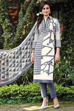 USD 47.73 Off White Lawn Cotton Pakistani Style Suit 54298