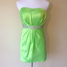 Mic well Custom made Formal Dress Custom ordered green with rhinestones prom/homecoming dress. Built in padding and straps to keep you secure and comfortable. Never worn. She Ordered a few dresses to try on not realizing they couldn't be returned. Micwell Dresses Prom