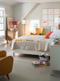 Character Counts- love the neutral with punch look.  Like the contemporary quilt.  Can see where the inspiration comes from for the room.