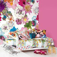 Wall Mural Flower Festival (source Eijffinger) Fabric Wallpaper Australia / The Ivory Tower Modern Floral Wallpaper, Colorful Wallpaper, Fabric Wallpaper, Wall Wallpaper, Floral Wallpapers, Ceramic Furniture, Flower Festival, Photo Mural, Hearth And Home