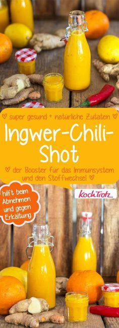 Super gesund! Chili-Ingwer-Shot, der Poster für das Immunsystem und den Stoffwechsel. #ingwershot #gingershot #gesund #immunstystem #stoffwechsel #hausmittel #erkältung