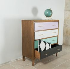 Inspiration for mom's old oak dressers ... Lavender, White, Turquoise and Grey with modern silver drawer handles. | FanFan the Tulip Dresser vintage of the 1950s in oak 4 by rosebap