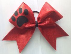 "Paw Print Cheer Hair Bow Large 3"" Wide Ribbon Mascots Lions Tigers Bears 