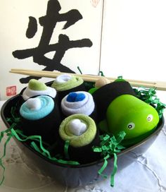 Eco Friendly, Organic Baby Sushi Set - A Creative Baby Shower Gift. $28.00, via Etsy.