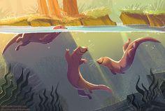 Otters Sunset by kiki-doodle.deviantart.com on @DeviantArt
