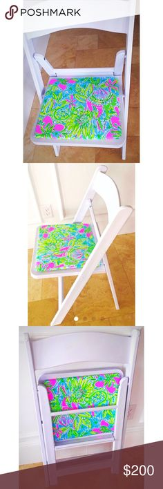 Lilly Pulitzer Coconut Jungle Folding Chair Brand new white resin folding chair upholstered in Lilly Pulitzer Coconut Jungle Fabric. Perfect indoors or outdoors... Bedroom, kitchen dorm room...folds for easy storage...lightweight and durable 💕 Available in fan sea pants, guilty pleasure and other custom fabrics...just send a custom order request and we will do our best to accommodate your needs😀😀 Lilly Pulitzer Other