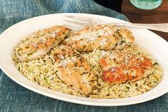 Lemon Grass Chicken with Herbed Orzo
