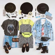 Neon, Jeans ou estampa gráfica? Qual a sua escolha para curtir seus shows favoritos? Se inspire nas nossas escolhas e arrase nos festivais do mês de setembro #VemProvar #ProveiEAprovei #LooksFestivais Festival Looks, Neon Outfits, Flatlay Styling, Photo Tips, Festival Fashion, Flats, Cool Stuff, Flat Lay, Polyvore
