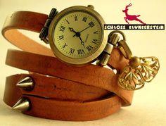 (KUNST)STÜCK 1 Unikat Wickeluhr Armbanduhr Unisex von Schloss Klunkerstein - Uhren, von Hand gefertigter Unikat - Schmuck aus Naturmaterialien, Medaillons, Steampunk -, Shabby - & Vintage - Schätze, sowie viele einzigartige und liebevolle Geschenke ... auf DaWanda.com
