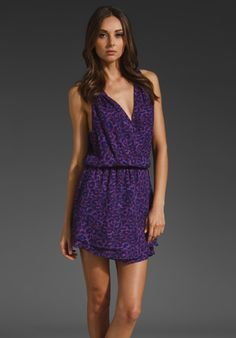 PARKER Sleeveless Wrap Dress in Purple Animal at Revolve Clothing