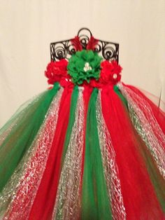 Holiday Wedding Flower Girl Christmas Shabby Flower Tutu Dress