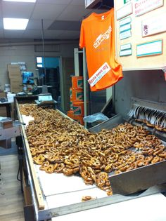 Hammond Pretzel factory. The oldest family operated, hand-made pretzel bakery in America. Opened in 1931. Fifth generation running it now. Lancaster, PA.