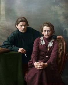 Maxime Gorki With His Wife Ekaterina Peshkova Michel De Montaigne, Russian Literature, Writers And Poets, Portraits, Women In History, Revolutionaries, Photography, Tarot, Faces