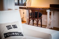 Detail of the cushions and a vintage work bench. book here: www.fusionhotels.com design by: www.tinquer.com