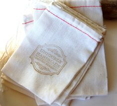 30 Stamped Linen Bags, jewelry bags, jewelry packaging, earring bags, gift bags, favor bags, wedding favors, drawstring cloth bags