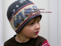 Boys Crochet Hat Pattern - Choo Choo Train Hat Crochet Pattern No.402 FOUR Sizes uses LIGHT worsted weight yarn on Etsy, $4.00