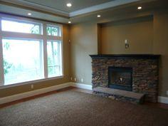 Stone Fireplace, Dark Brown Mantel, Stone Tile Hearth