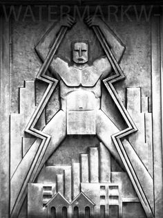 Facade Detail, Commonwealth Edison Electricity Substation, Chicago, IllinoisPhoto by A second architectural photo by the person behind the one earlier. Thanks to the helpful reader who ID'd the building for me: Commonwealth Edison Electricity Substation. Design Art Nouveau, Motif Art Deco, Art Et Architecture, Muebles Art Deco, Gothic, Art Deco Buildings, Roman, Sculpture, Dieselpunk