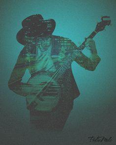 #blue #double #exposure #guitar #music #musician #street