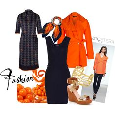 """Etcetera is right on-trend when our designer's added this seasons hottest hue to our Spring collection!   """"Etcetera Spring 2013 - Navy & Orange"""" by lcronican on Polyvore"""