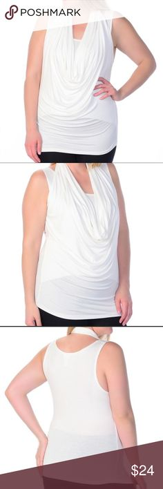 🆕 PLUS Drape Sleeveless Top White Stretchy and stylish with the drape neck detail. 97% Rayon and 3% Spandex. Also available in turquoise, gray, black, tangerine and lilac. Bellino Clothing Tops Tank Tops