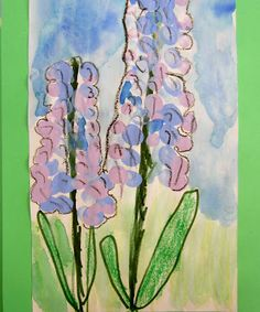 Hyacinths- made in stages draw stems, leaves and grass. Use one finger to create dots for the flower then outline this when dry with black crayon. Then use blues and purples for the background.