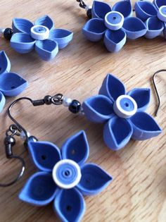 Quilled Flower Earrings by NaturalBornQuiller on Etsy