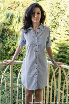 Striped Shirt dress by Sewing Tidbits Casual Dresses, Casual Outfits, Summer Dresses, Hijab Fashion, Fashion Dresses, Shirt Dress Pattern, Dress Making Patterns, Striped Shirt Dress, Dress To Impress