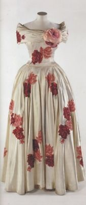 Norman Hartnell Gown - Silk with Hand Painted Roses