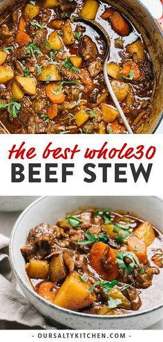 This is the best Beef Stew! Braised in a dutch oven in a rich and savory gravy with hearty vegetables, it's also surprisingly easy to make! Clean Dinner Recipes, Clean Dinners, Clean Eating Dinner, Sunday Dinners, Stew Meat Recipes, Healthy Soup Recipes, Real Food Recipes, Dutch Oven Beef Stew, Whole 30 Recipes