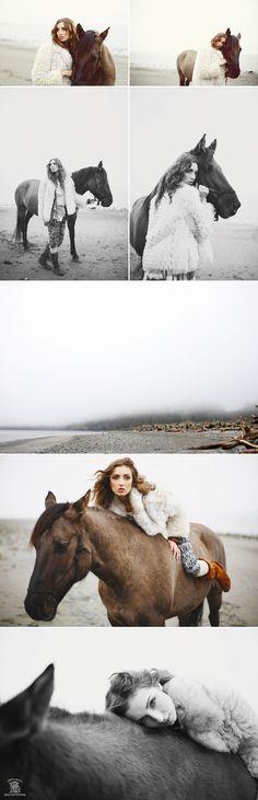 Beach, horses, fashion.