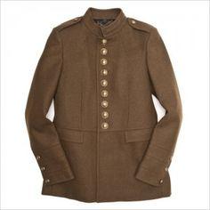 Мужской пиджак в стиле милитари из шерсти с рядом золотистых пуговиц от Burberry Prorsum
