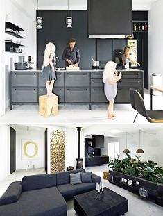 Inside the home of Danish brand Vipp's chief designer, Morten Bo Jensen. The carbon colored kitchen is a Vipp design by Morten himself