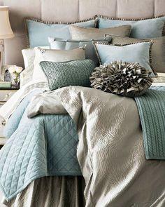 Aqua  silver bedding