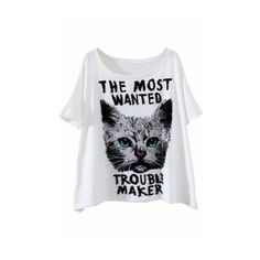 White Short Sleeve Letter Cat Print Loose T-Shirt (€18) ❤ liked on Polyvore featuring tops, t-shirts, white short sleeve t shirt, short sleeve tee, loose fit tee, loose tee and white top