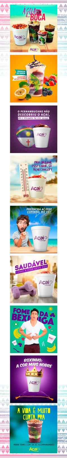 Imagens desenvolvidas para promover a empresa Açaí concept no facebook e instagram