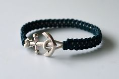Anchor Frienship Bracelet, Dark Blue Leather Knotted Over White Leather, Nautical, Shamballa Style, Other Colors Available, Gift Boxed