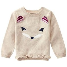 Baby Girl Wheat Fox Face Sweater by Gymboree Kids Outfits Girls, Toddler Girl Outfits, Toddler Fashion, Kids Fashion, Girl Toddler, Fox Kids, Fox Face, Girl Closet, Girl Falling