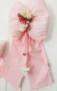 Elegante Fiocco per nascita in prezioso taffetá rosa