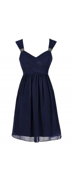Great Escape Chiffon Babydoll Dress in Navy  www.lilyboutique.com