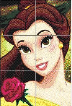Belle - Beauty and The Beast Perler Bead Pattern Disney Hama Beads Pattern, Hama Beads Disney, Pearler Bead Patterns, Perler Patterns, Perler Bead Art, Perler Beads, Beaded Cross Stitch, Cross Stitch Patterns, Melty Bead Designs