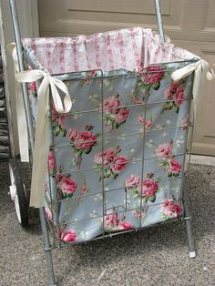 old shopping cart with shabby rose fabric