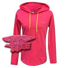 Ladies Trident Pink Long-Sleeve Hooded Tshirt Navy SEALS